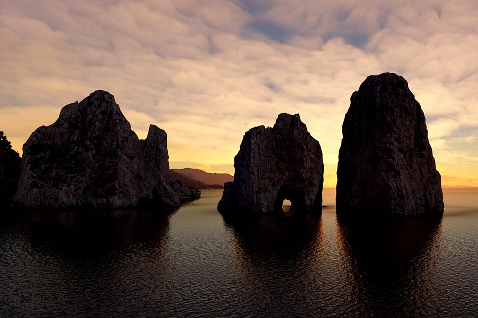The Faraglioni (Sea Stacks), Capri, Italy Microsoft Flight Simulator