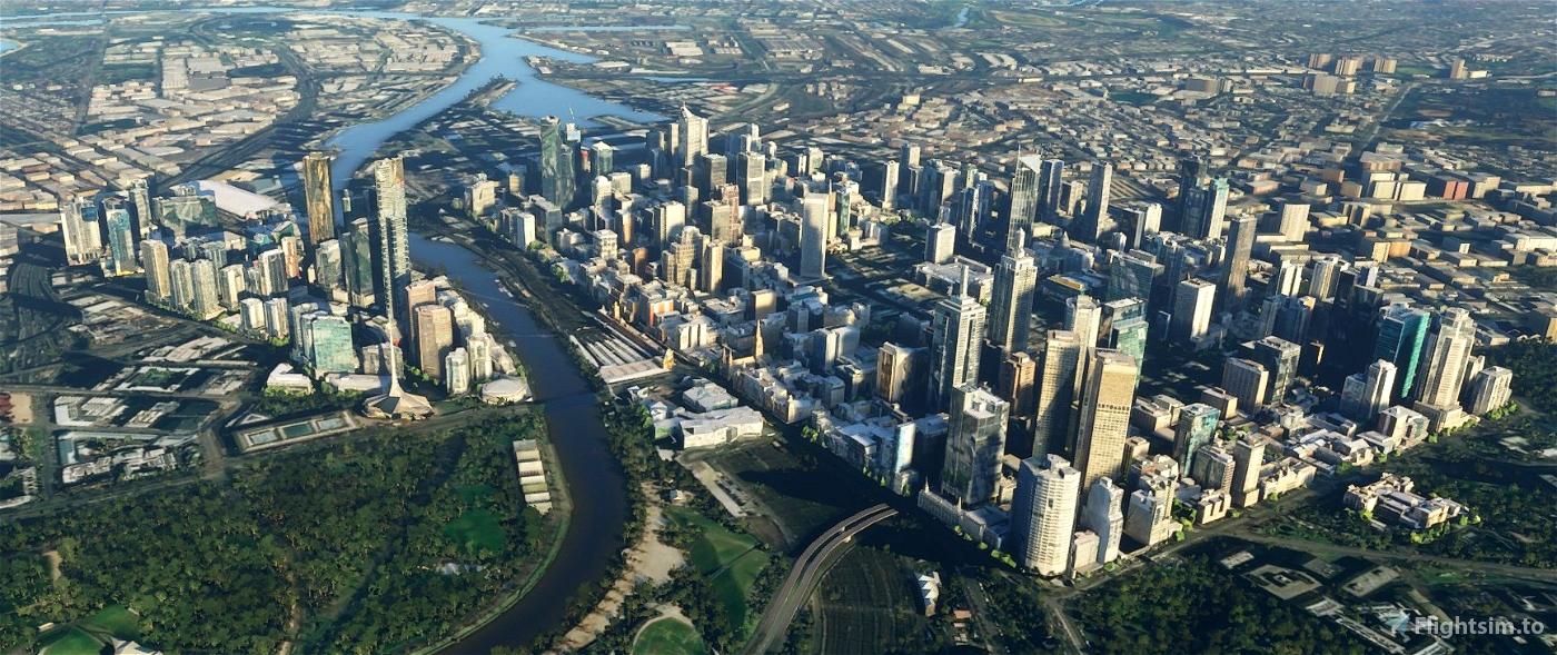 Melbourne CBD and Southbank - Cut Down Flight Simulator 2020