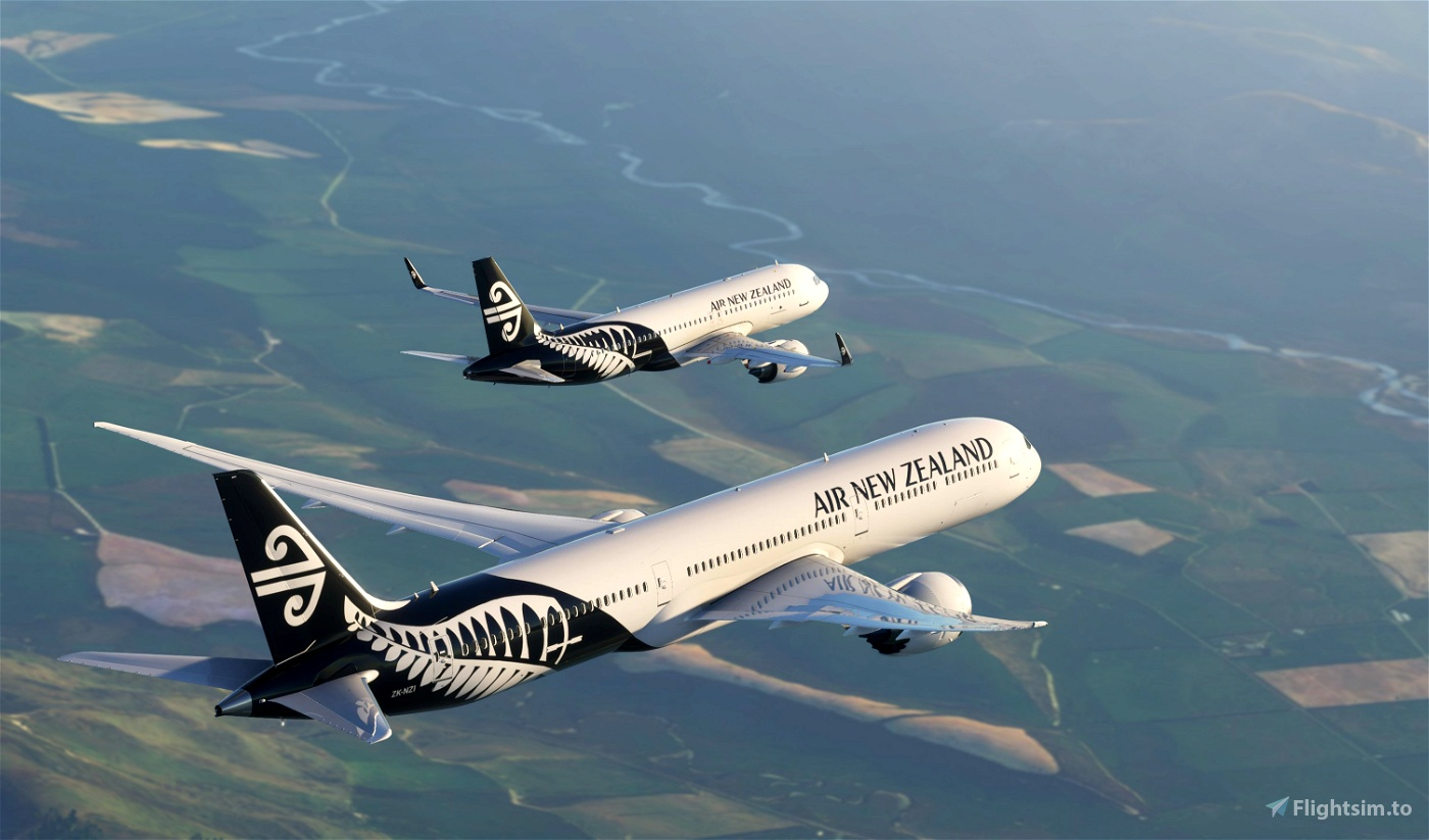Air New Zealand 787 (Black and White)- NEW METHOD