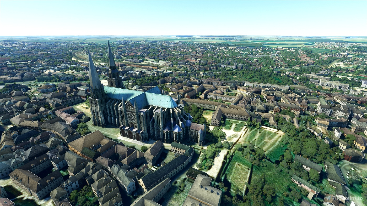 Chartres Cathedral, France • Flight Simulator 2020
