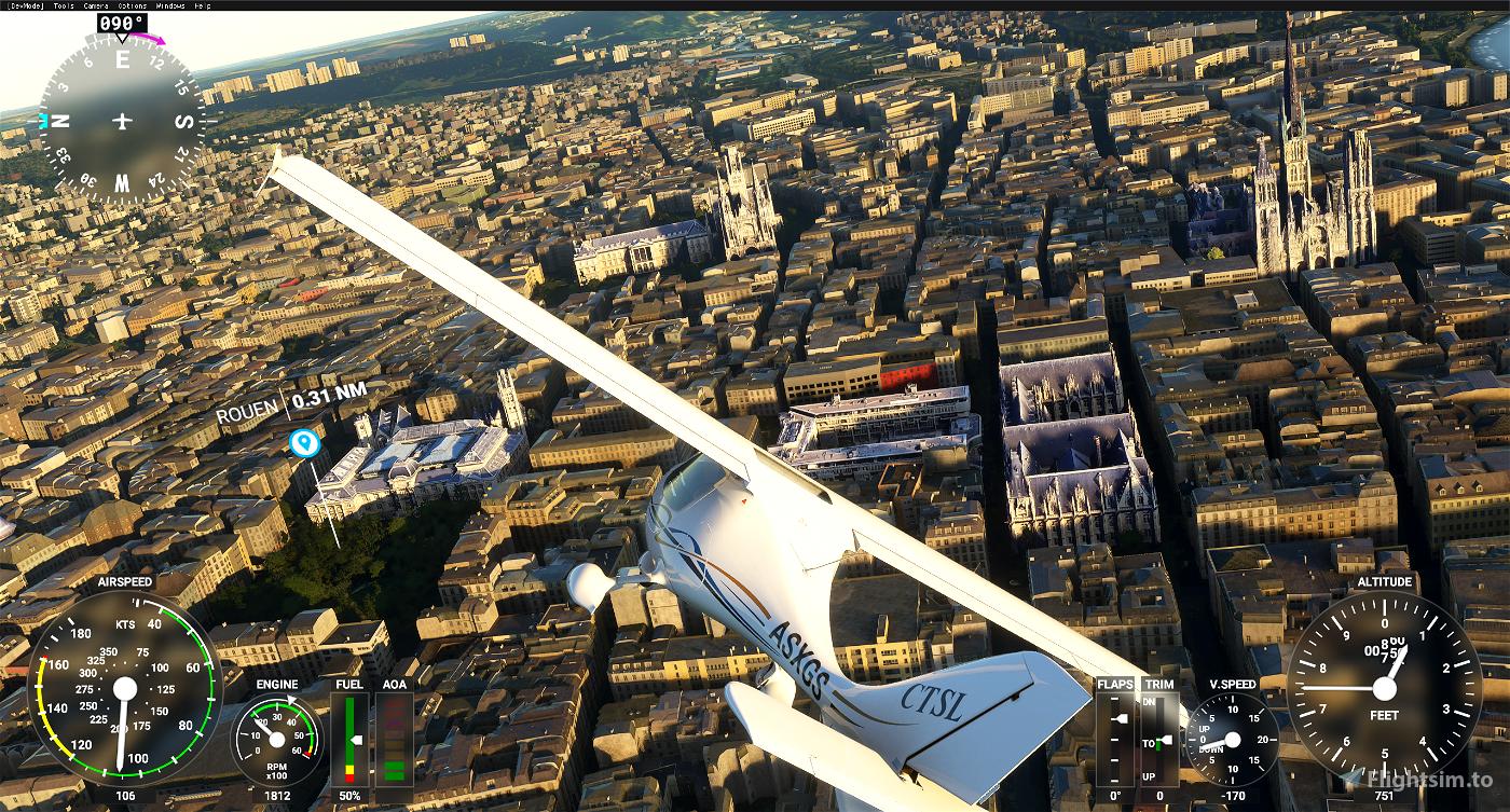 Rouen - bâtiments manquants si non photogrametrie  - POI Image Flight Simulator 2020