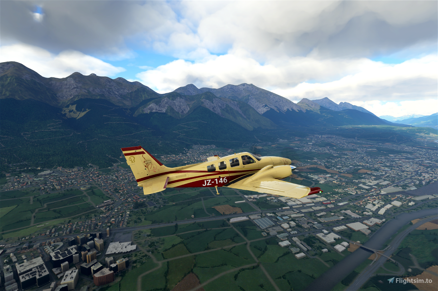 Beechcraft Baron G58 Cream & Burgundy