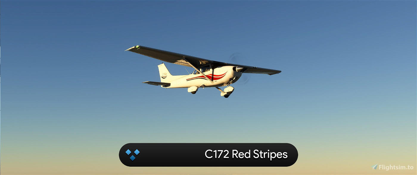 C172 G1000 Red Stripes 4K Flight Simulator 2020