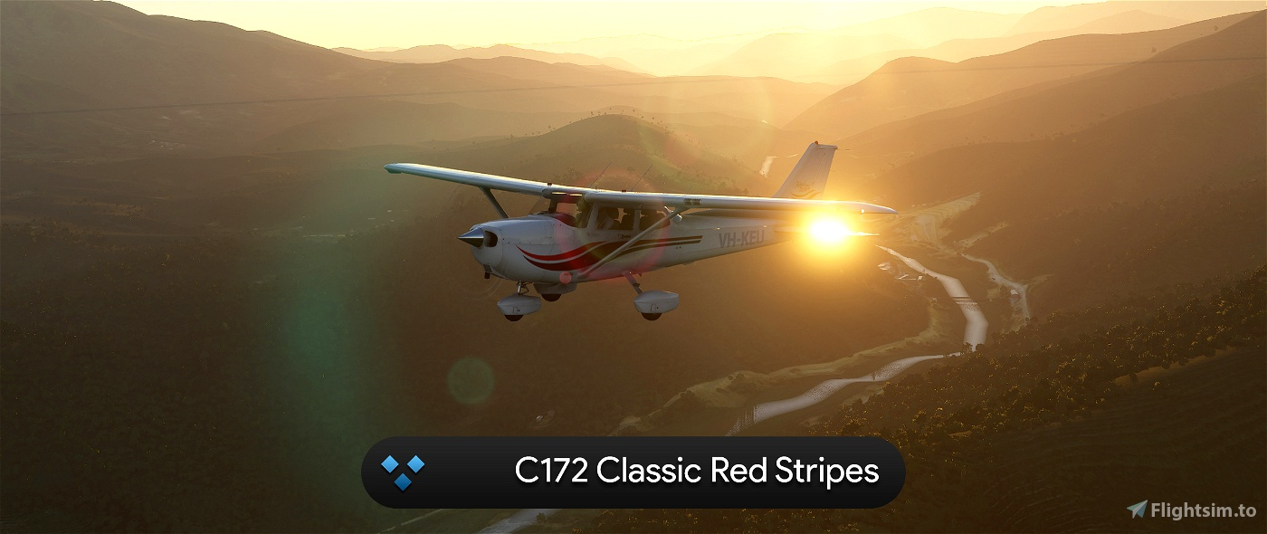 C172 Classic Red Stripes 4K Flight Simulator 2020