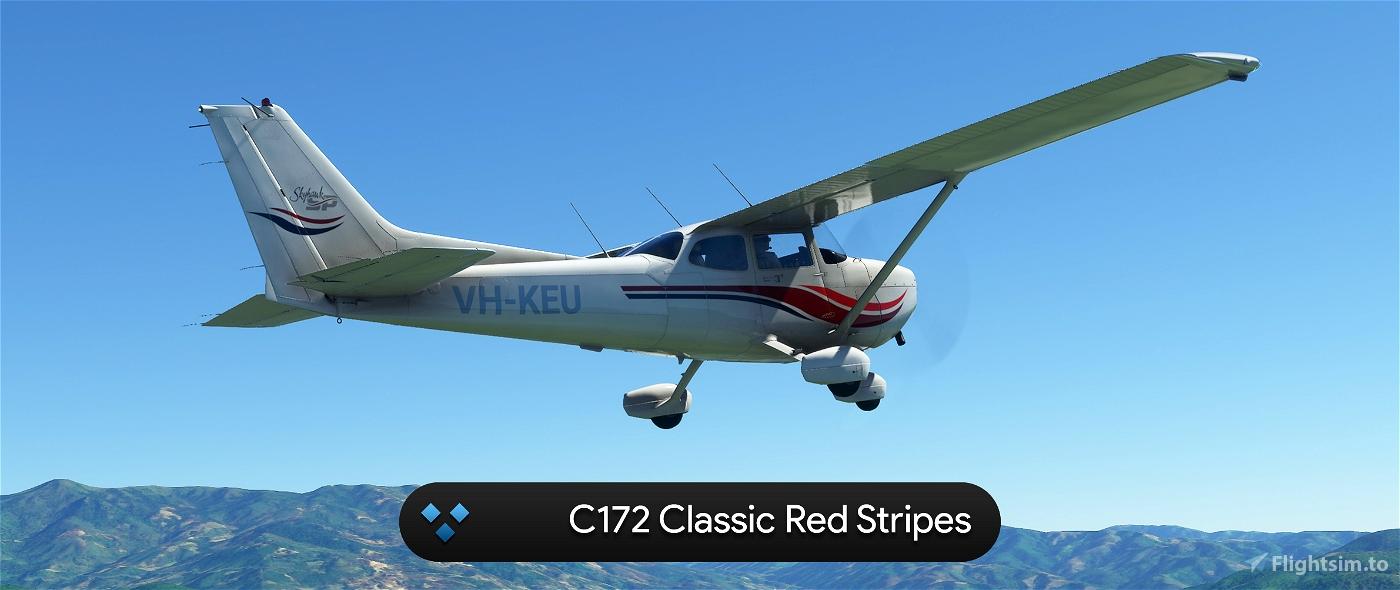 C172 Classic Red Stripes 4K