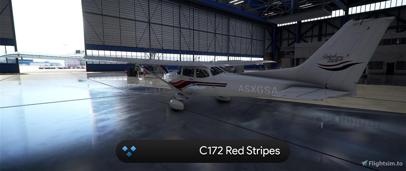 C172 G1000 Red Stripes 4K