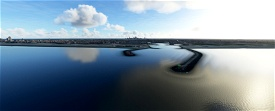 Scheveningen harbor entry with night lighting Microsoft Flight Simulator