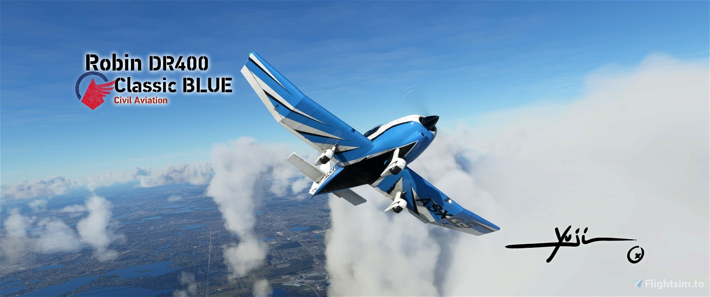 Robin DR400 Classic BLUE Flight Simulator 2020