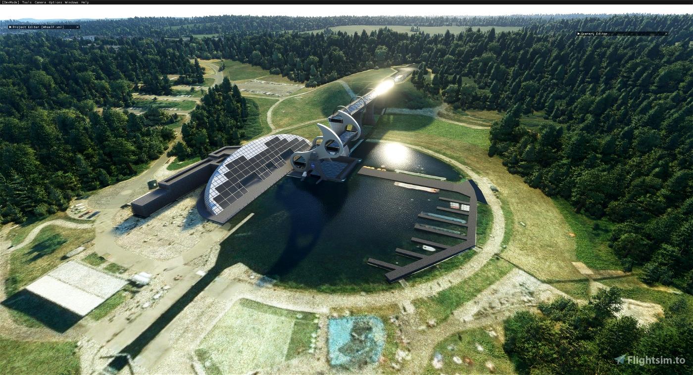The Falkirk wheel boat lift (Scotland) Microsoft Flight Simulator