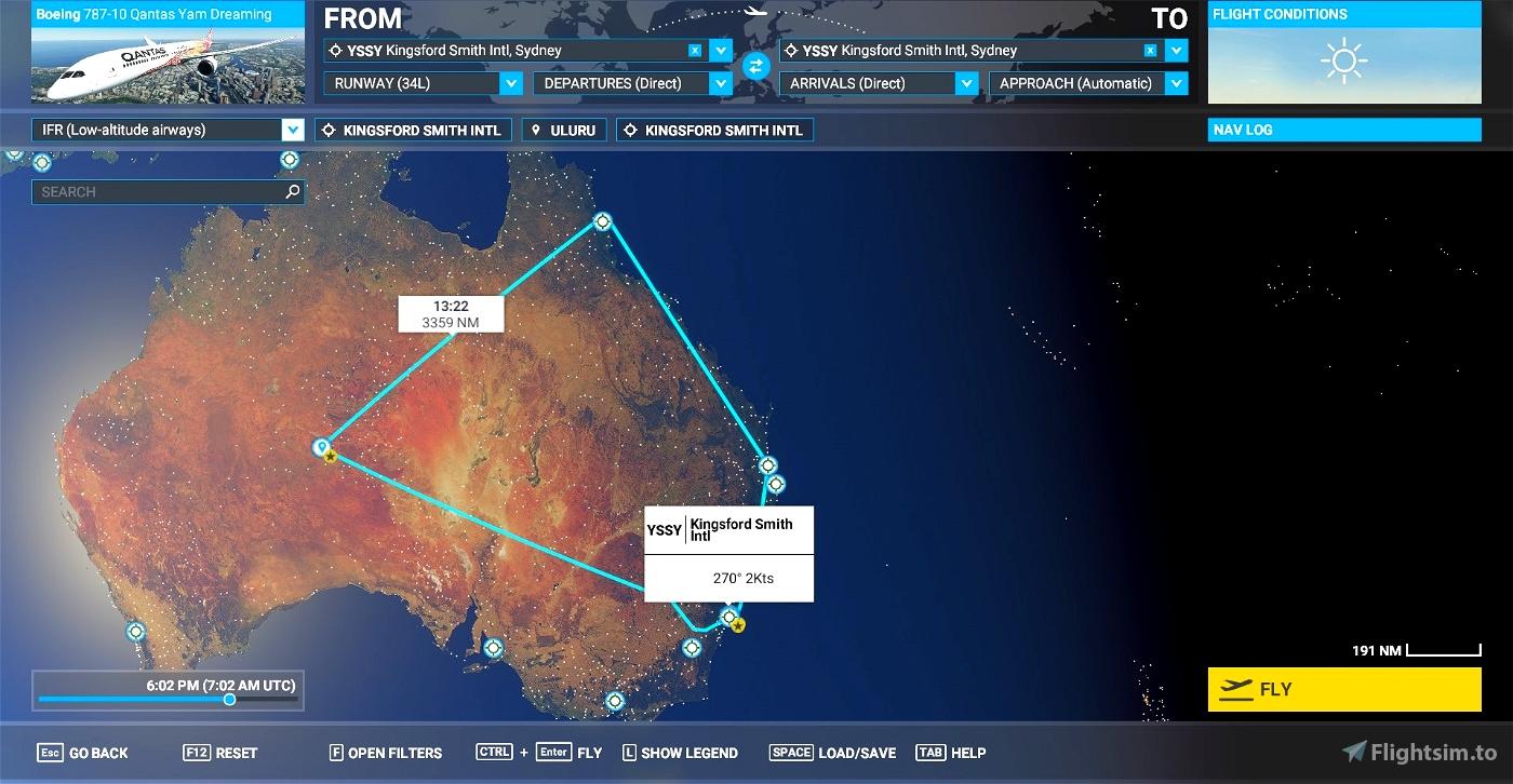 Qantas Great Southern Land flight plan