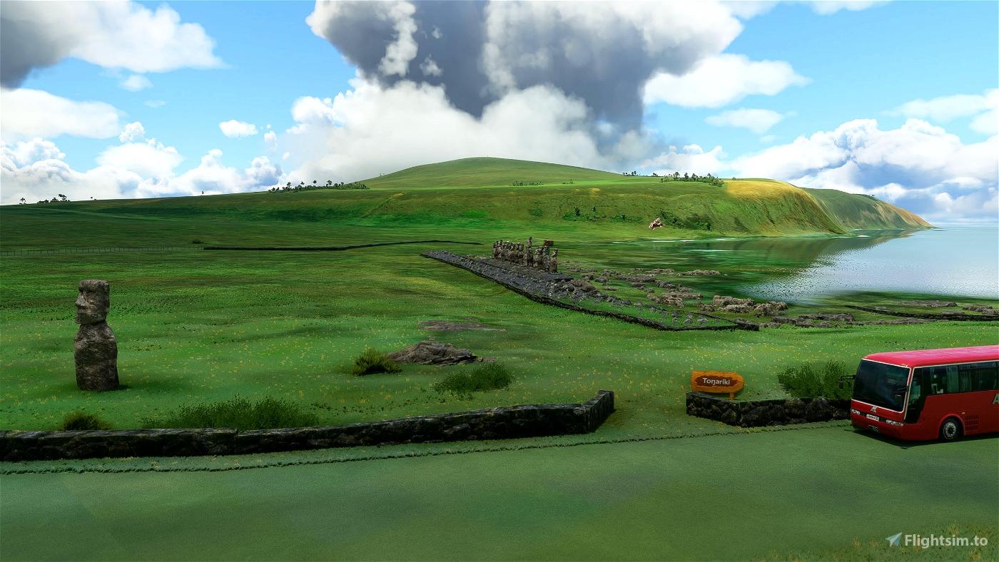 Ahu Tongariki ( Moai sculptures ), Easter Island , Chile Image Flight Simulator 2020