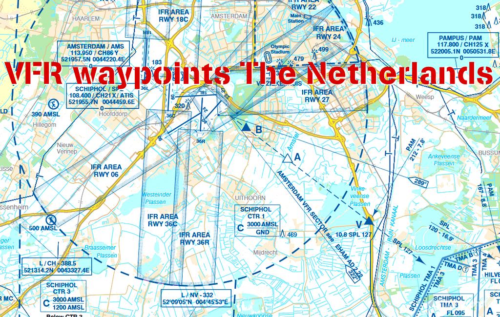 VFR waypoints of the Netherlands