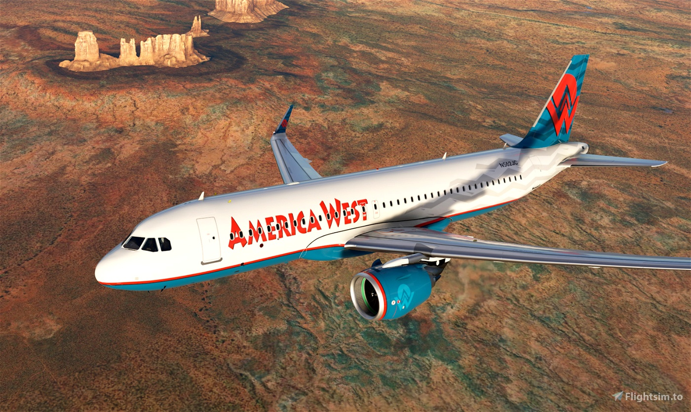 America West Airlines 90s A320neo [4K livery] Flight Simulator 2020