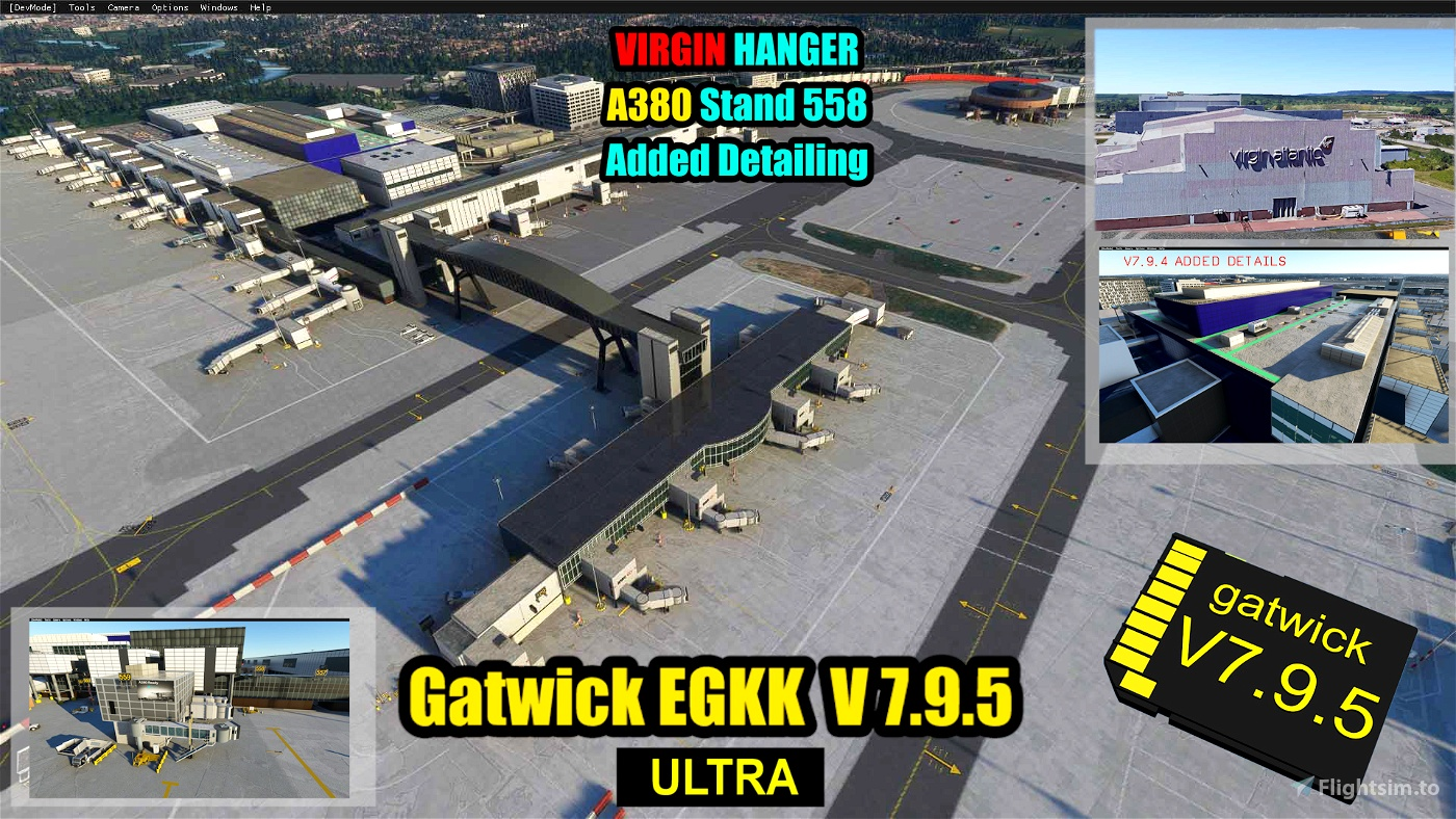 Gatwick Airport EGKK Ultra: Custom Buildings and Models Only