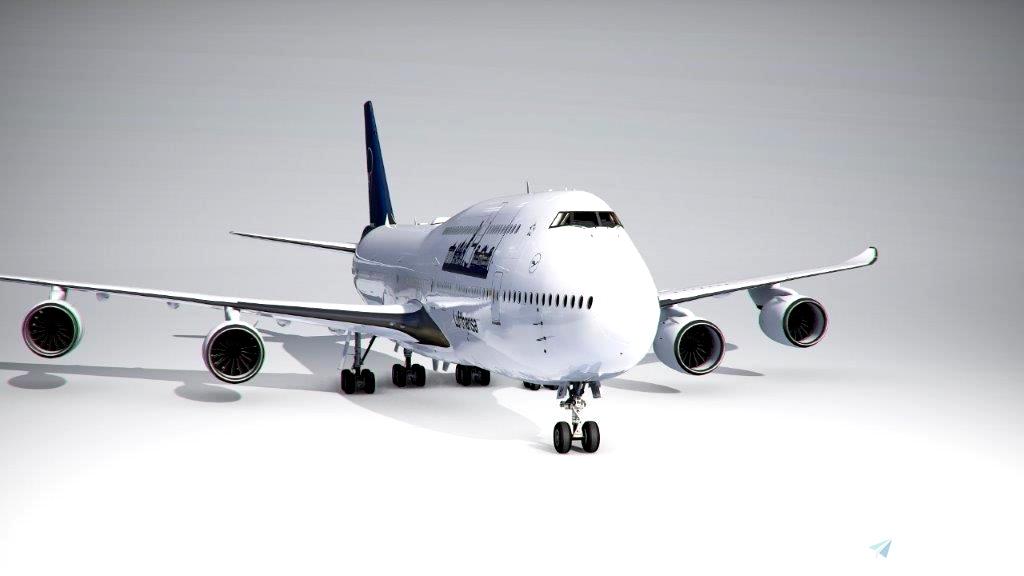 Boeing 747-8i Lufthansa Personal Edition Berlin (4k) - no logo mirroring