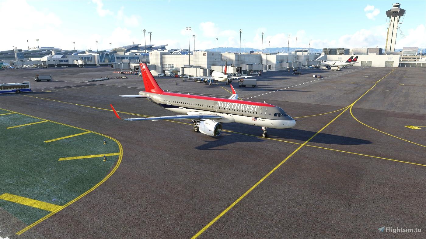 Northwest Airlines - SkyTeam Logo/Bowling Shoe [4K] - A320Neo Flight Simulator 2020