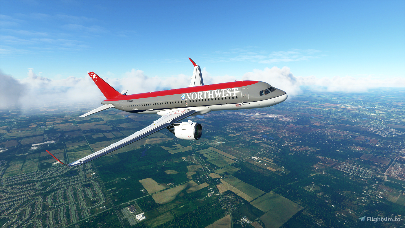 Northwest Airlines (Bowling Shoe) (2K Textures) - A320Neo Flight Simulator 2020