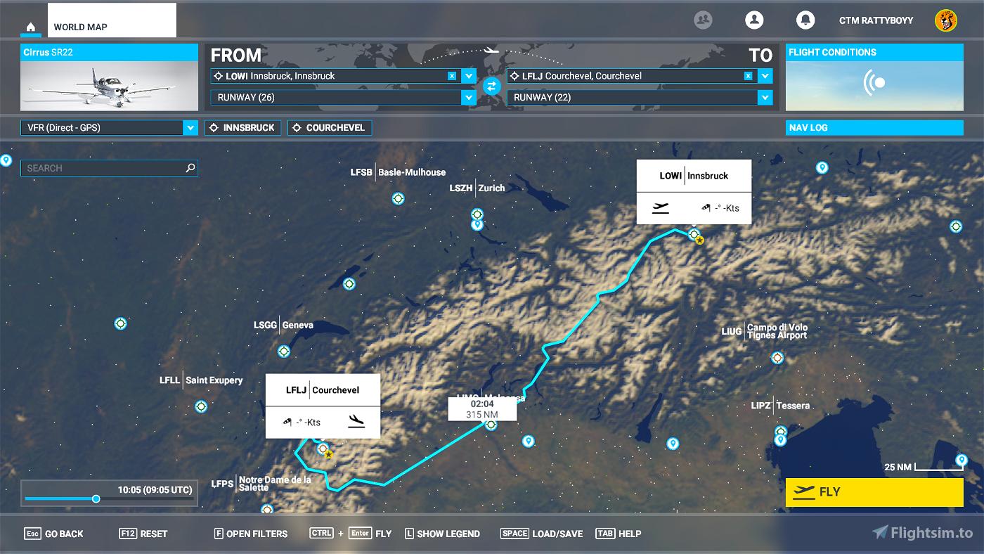 Innsbruck (LOWI) to Courchevel (LFLJ) Flight Plan