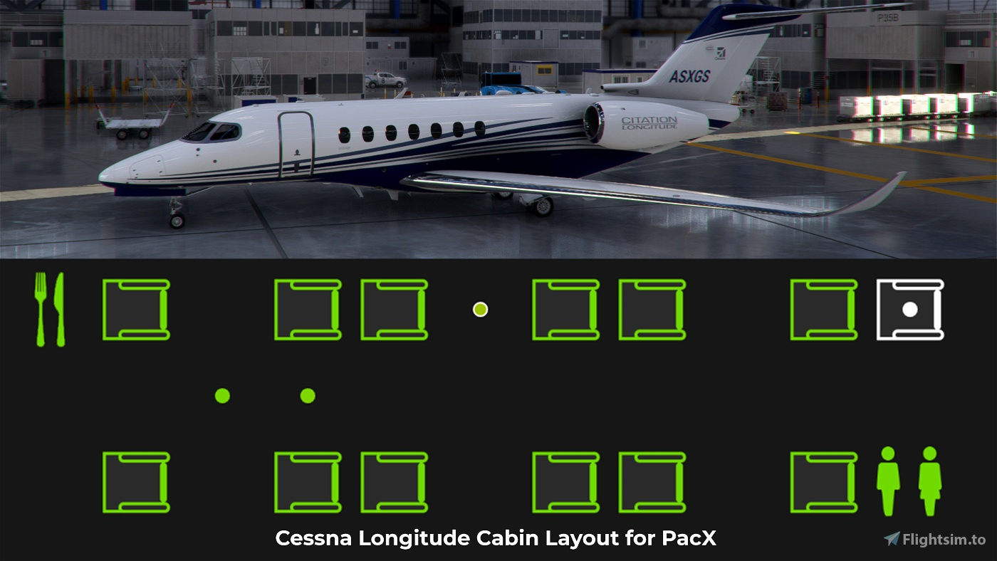 Cessna Citation Longitude Cabin Layout for PACX. Flight Simulator 2020