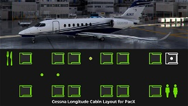 Cessna Citation Longitude Cabin Layout for PACX. Image Flight Simulator 2020