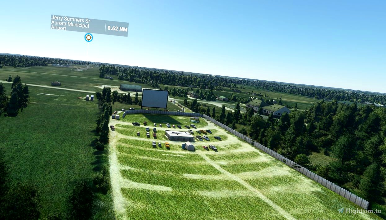 The Sunset Drive-In Theatre - Aurora, Mo. Flight Simulator 2020