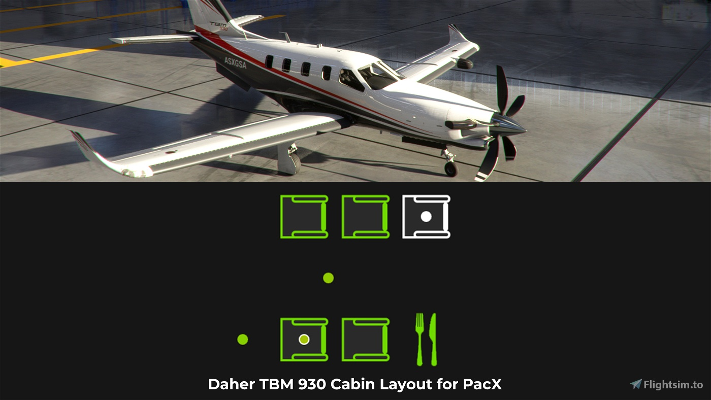 Daher TBM 930 Cabin Layout for PacX Flight Simulator 2020