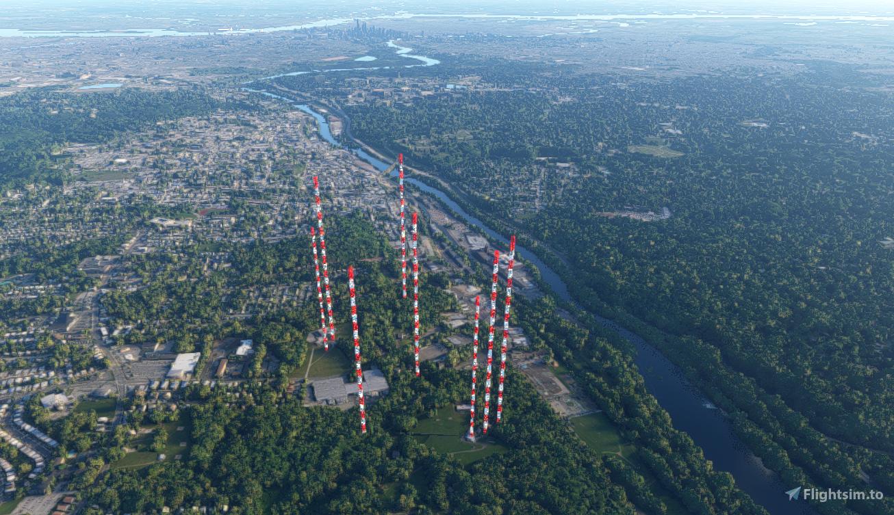 Radio Towers 6miles N of Philadelphia Flight Simulator 2020