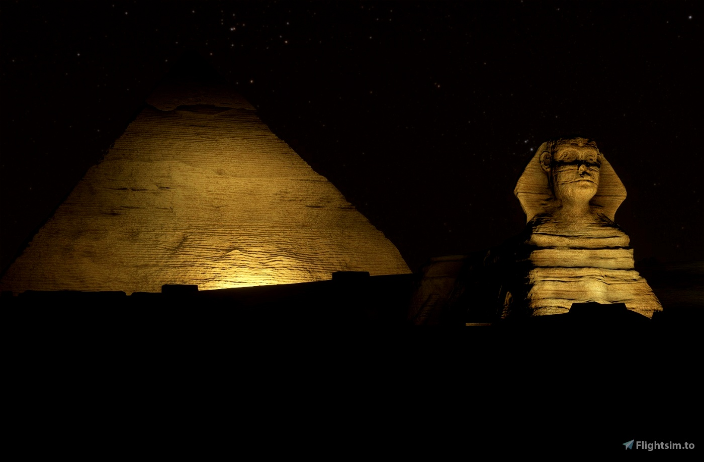 The Great Pyramids + Sphinx of Giza, Cairo, EGY - NIGHT LIGHTING SET