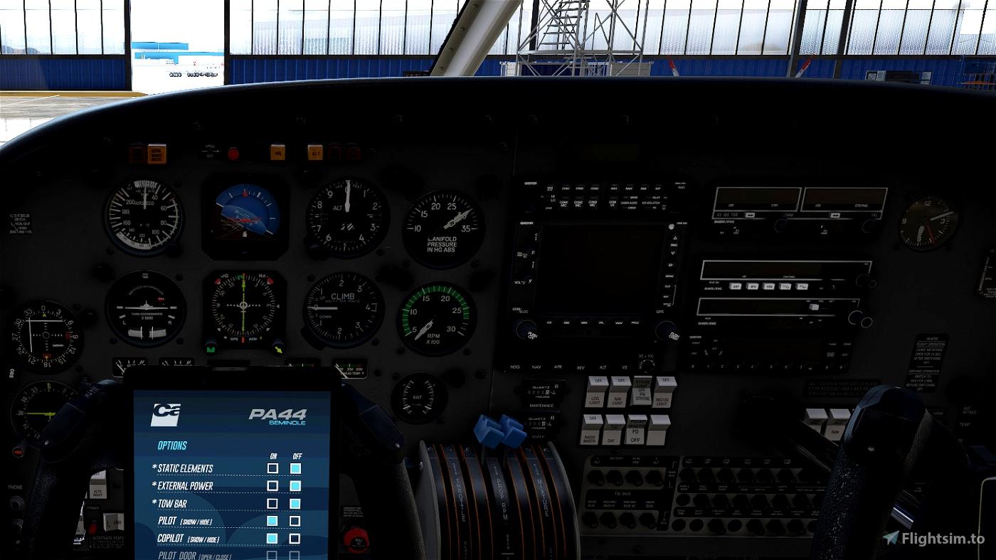 Piper PA44 Seminole - Cleaner and less worn Interior (incl. Darker Cockpit Panel) Flight Simulator 2020