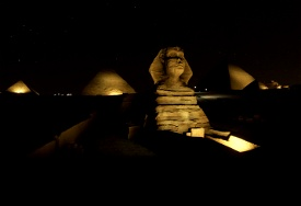 The Great Pyramids + Sphinx of Giza, Cairo, EGY - NIGHT LIGHTING SET Image Flight Simulator 2020