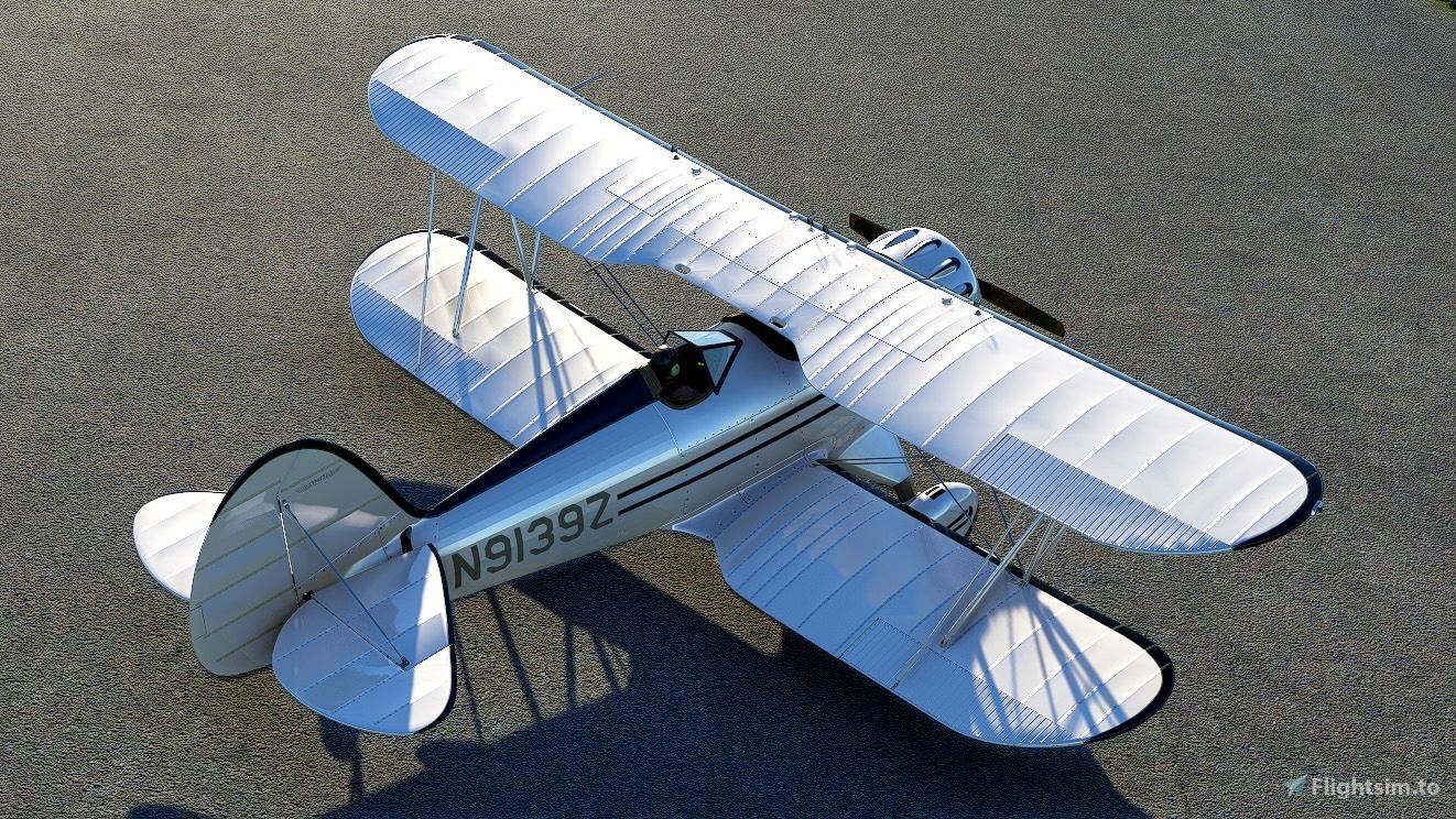 Waco YMF-5 Bright White livery  Flight Simulator 2020