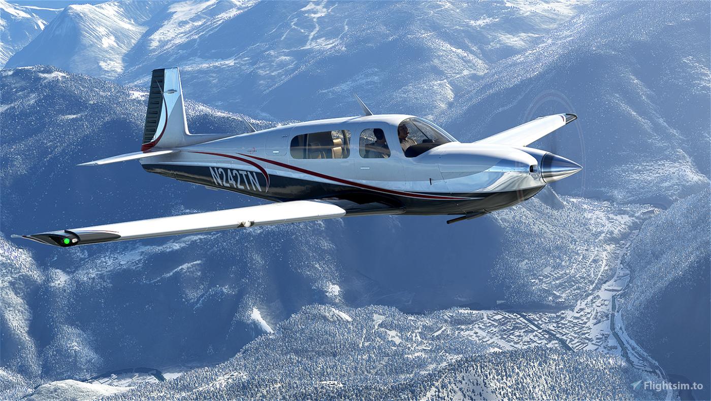Silver and Red Livery for Carenado Mooney Flight Simulator 2020