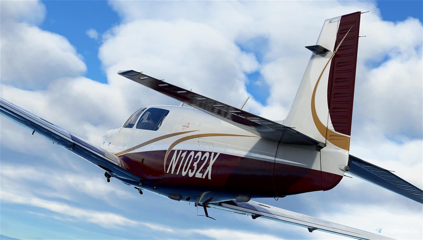 White Gold and Maroon Livery for Carenado Mooney