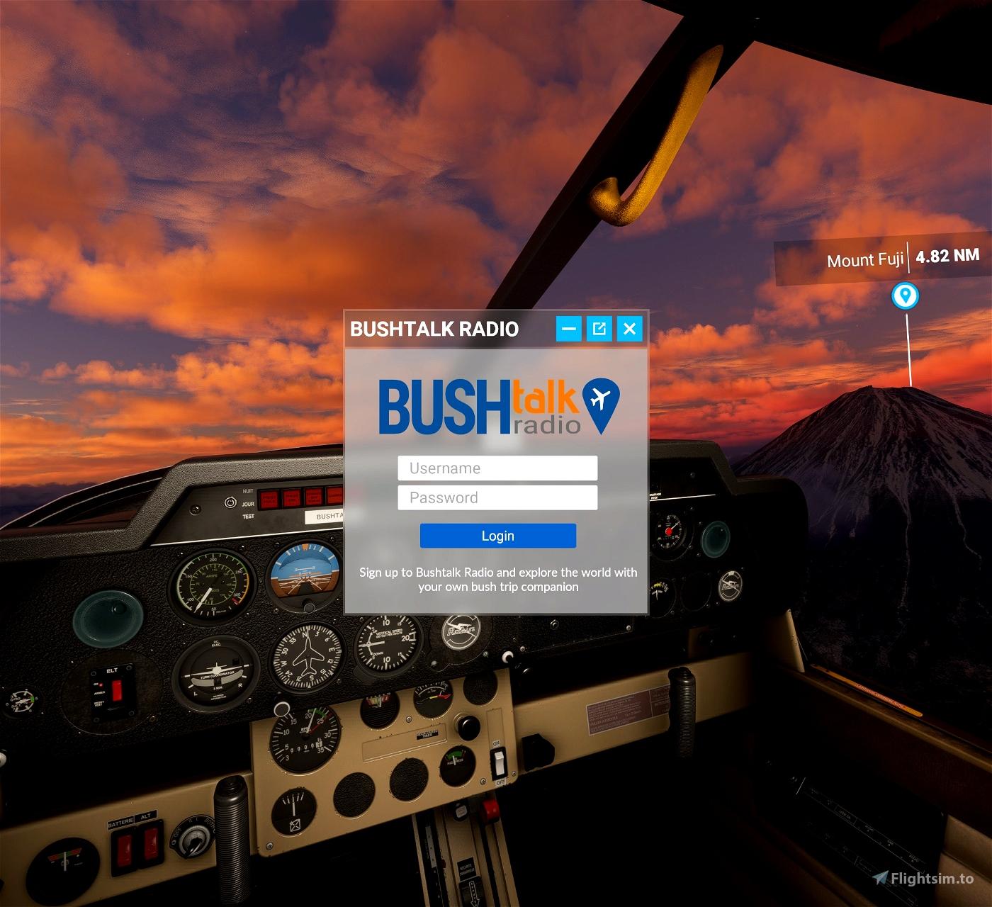 Bushtalk Radio Client: Audio tours from your cockpit Flight Simulator 2020