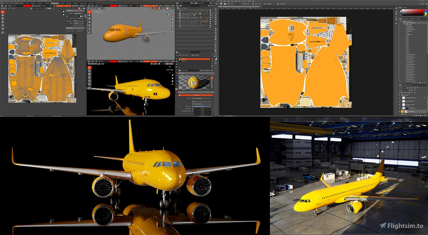A320 NEO Complete 8K Paintkit for Blender and Photoshop Flight Simulator 2020