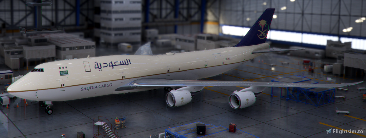 Boeing 747-8F Saudia Cargo (4k) - no logo mirroring