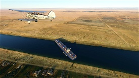 Ever Given Landmark , Canal de Suez. Microsoft Flight Simulator