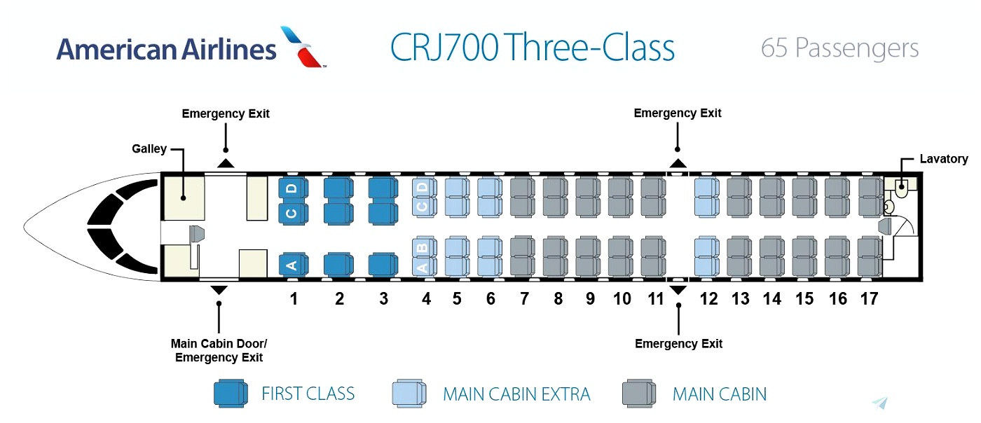 CRJ-700 Cabin Layout for American Eagle/SkyWest