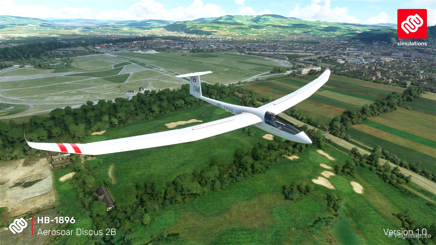 Aerosoar Discus 2B HB-1896 Segelfluggruppe Thun Microsoft Flight Simulator