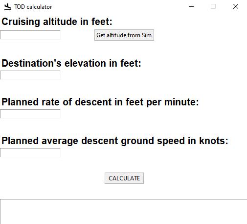 TOD calculator Microsoft Flight Simulator