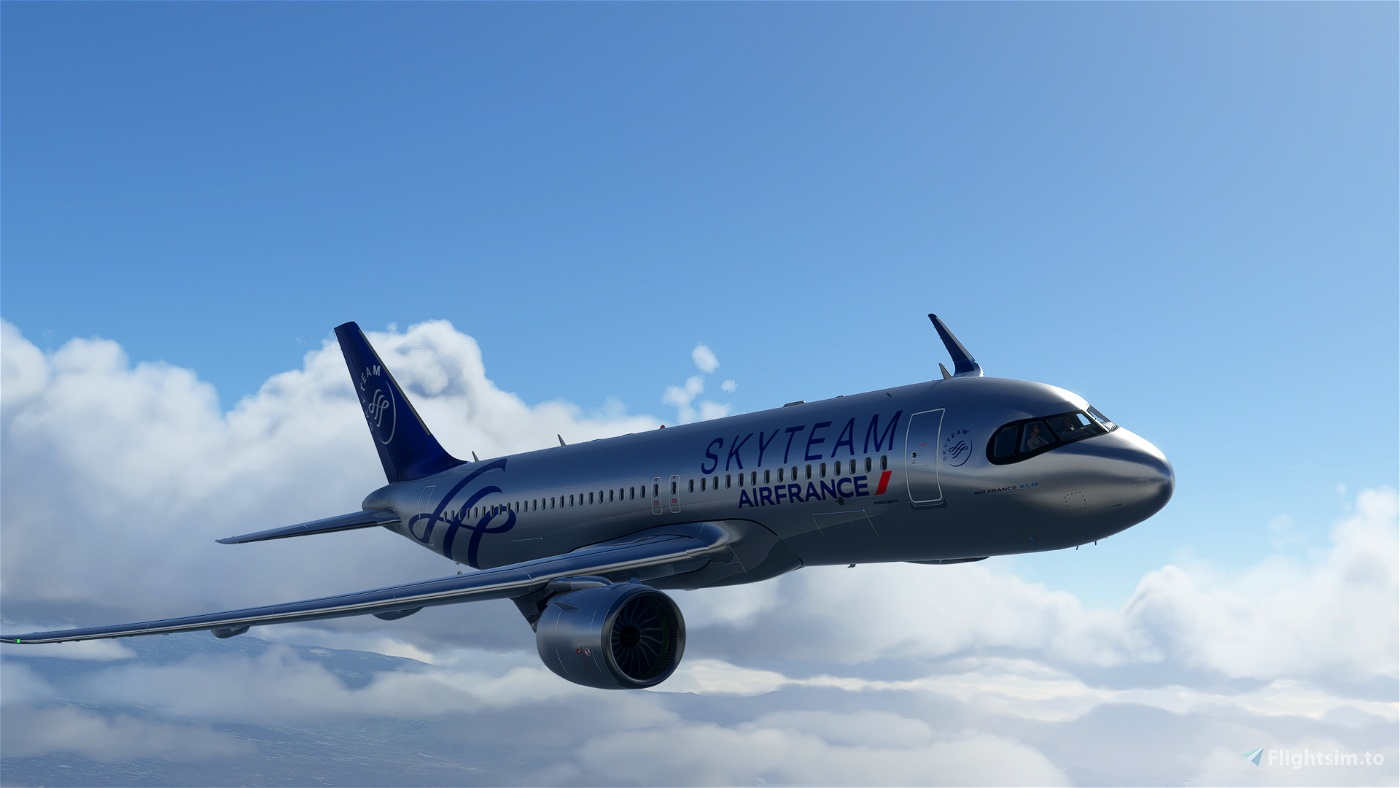 [A32NX] FlyByWireA320neo Air France Skyteam silver livery 8K