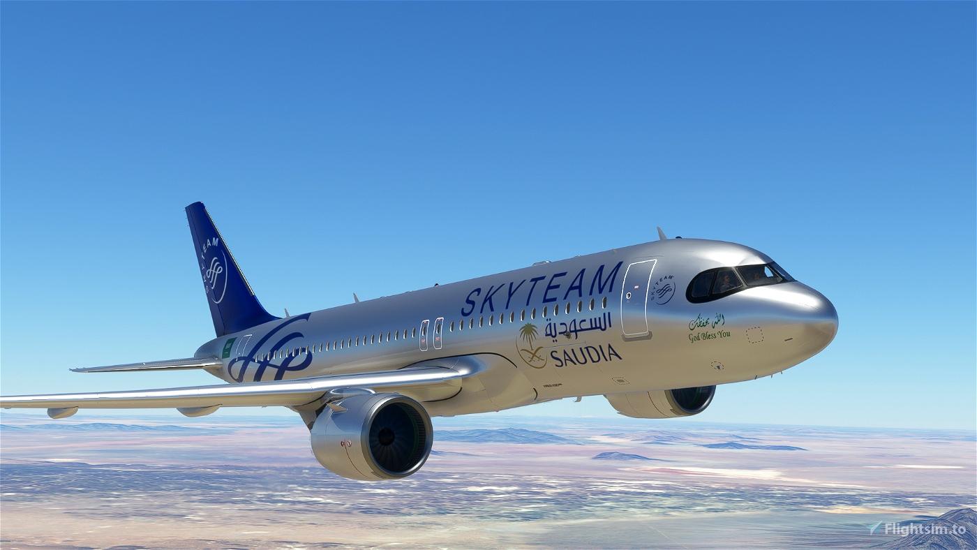 [A32NX] FlyByWireA320neo Saudia Skyteam silver livery 8K
