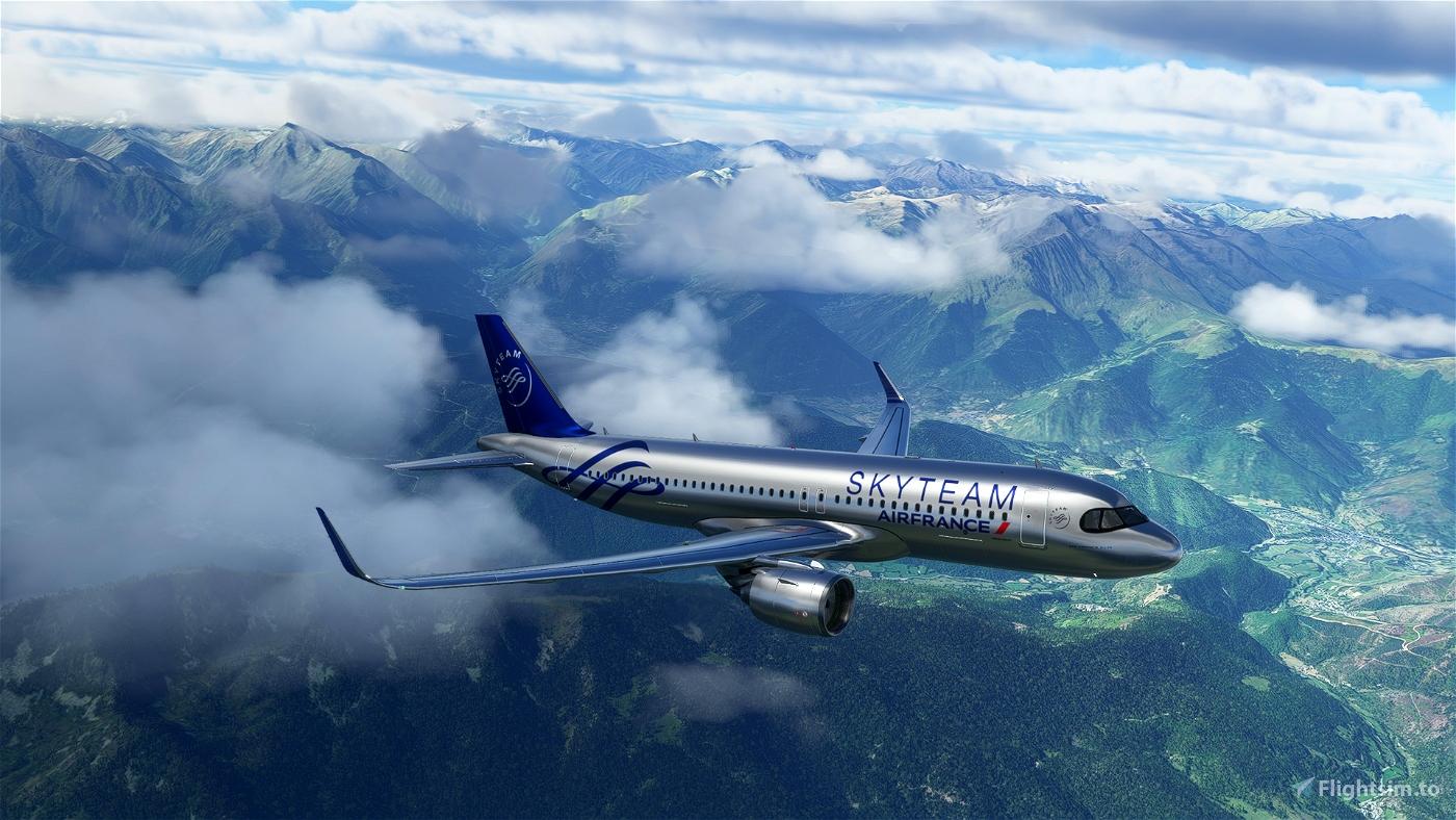 [A32NX] FlyByWireA320neo Air France Skyteam silver livery 8K Flight Simulator 2020