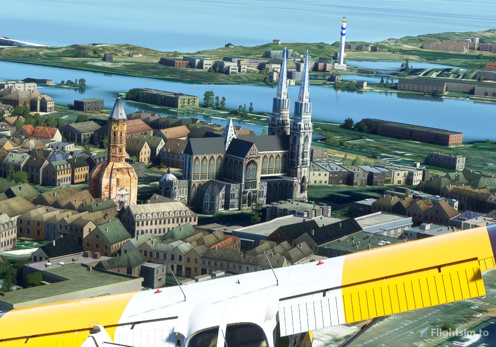 Oostende Sint-Petrus-en-Pauluskerk + Peperbusse Microsoft Flight Simulator