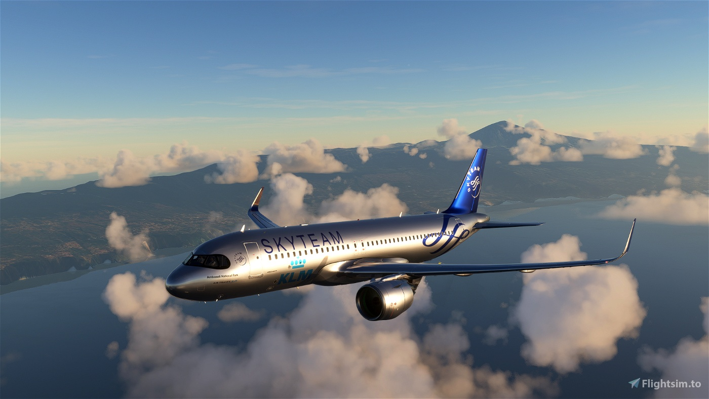 [A32NX] FlyByWireA320neo KLM Skyteam silver livery 8K