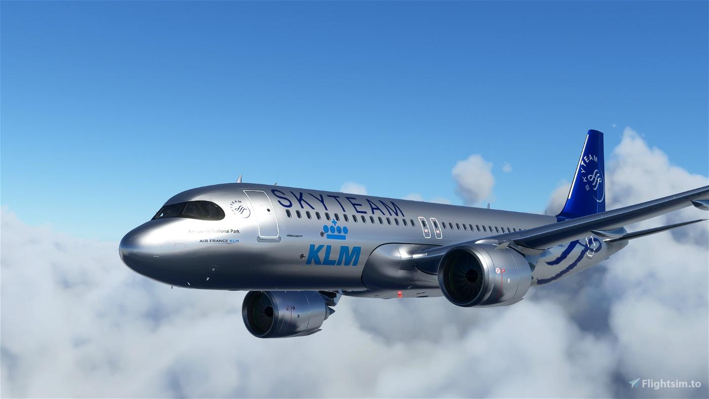 [A32NX] FlyByWireA320neo KLM Skyteam silver livery 8K Flight Simulator 2020