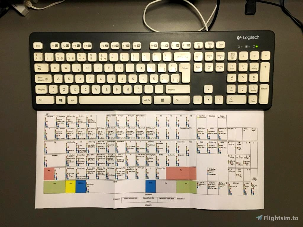 Customizable Keyboard Layout with Default MSFS Commands Flight Simulator 2020