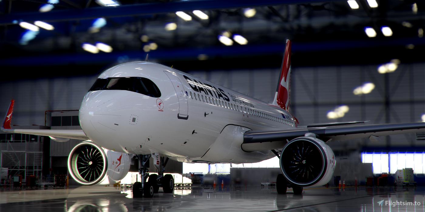 [A32NX] FlyByWire   Airbus A320neo Qantas Airways VH-EYE in 8k Microsoft Flight Simulator
