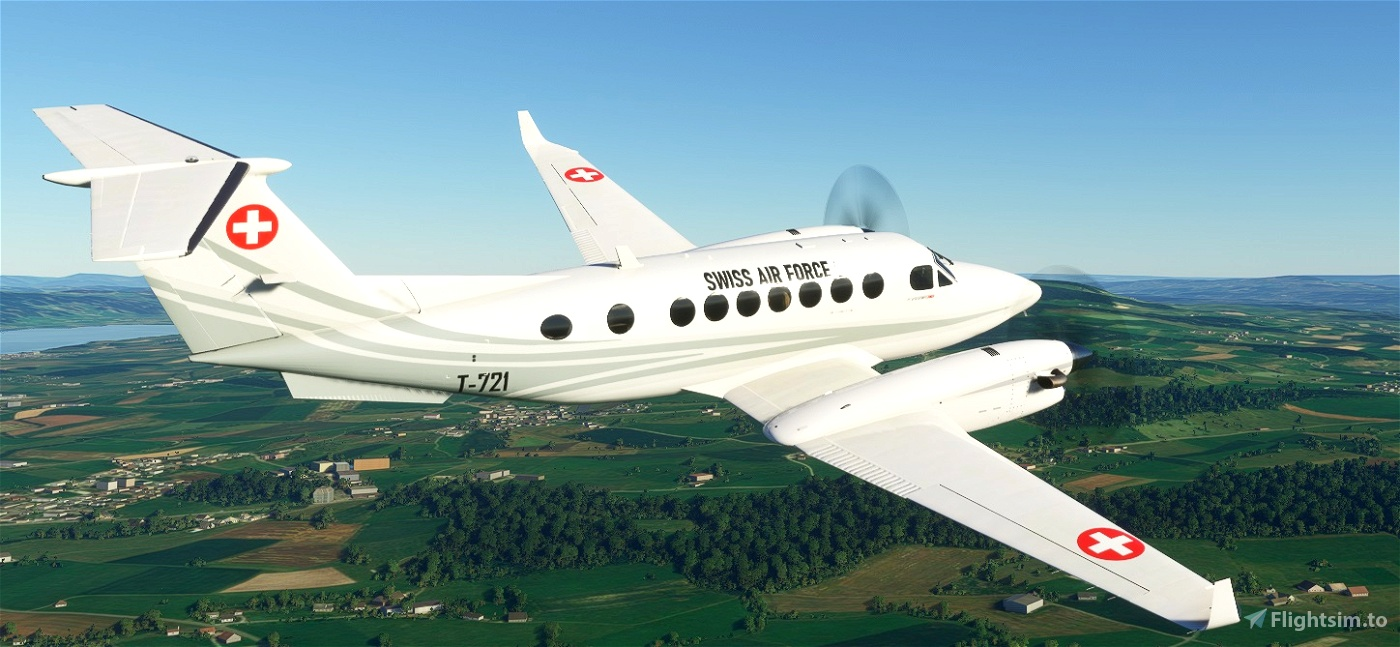 Asobo_KingAir350 Swiss Air Force T-721 White