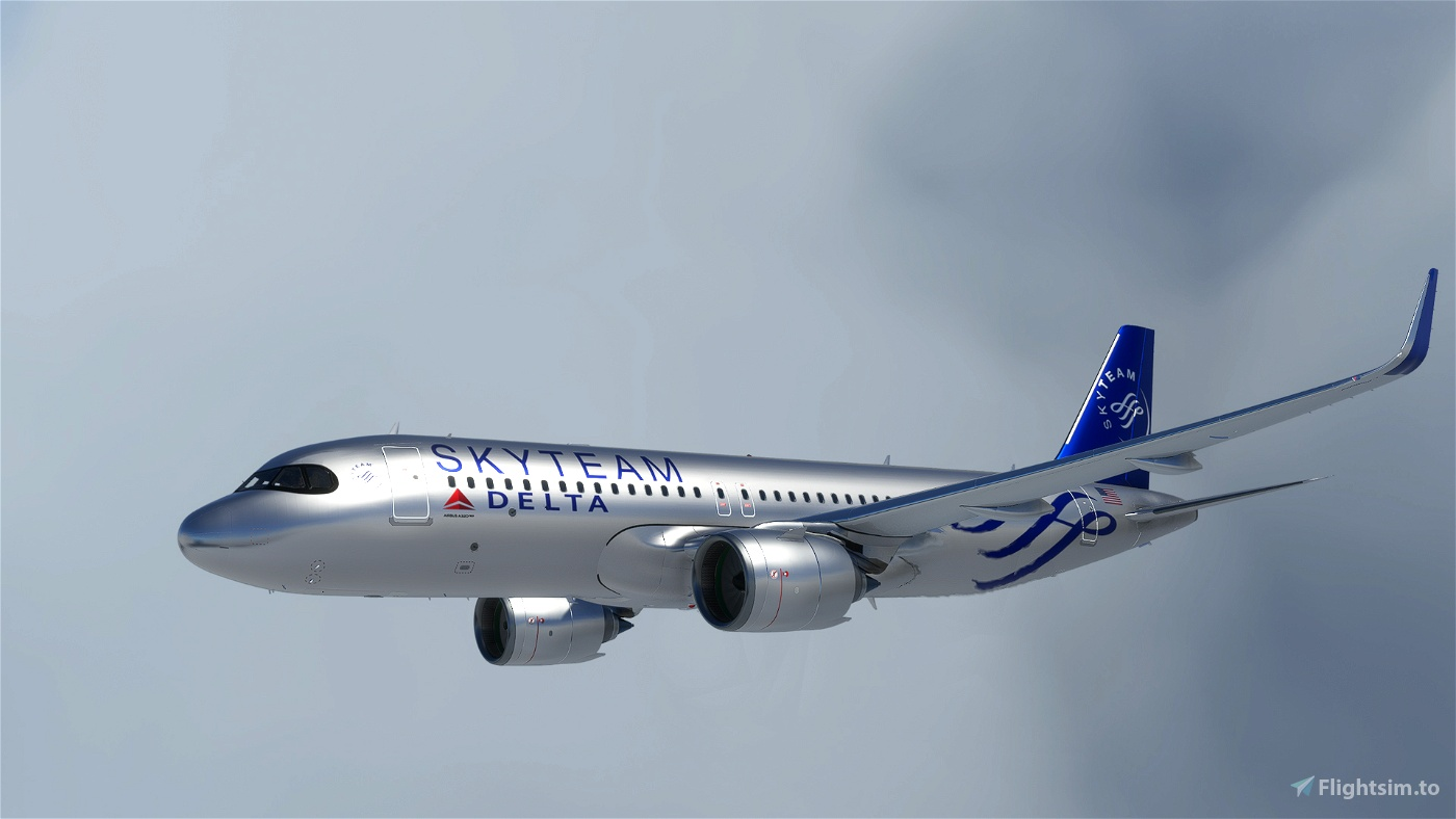 [A32NX] FlyByWireA320neo Delta Airlines Skyteam silver livery 8K